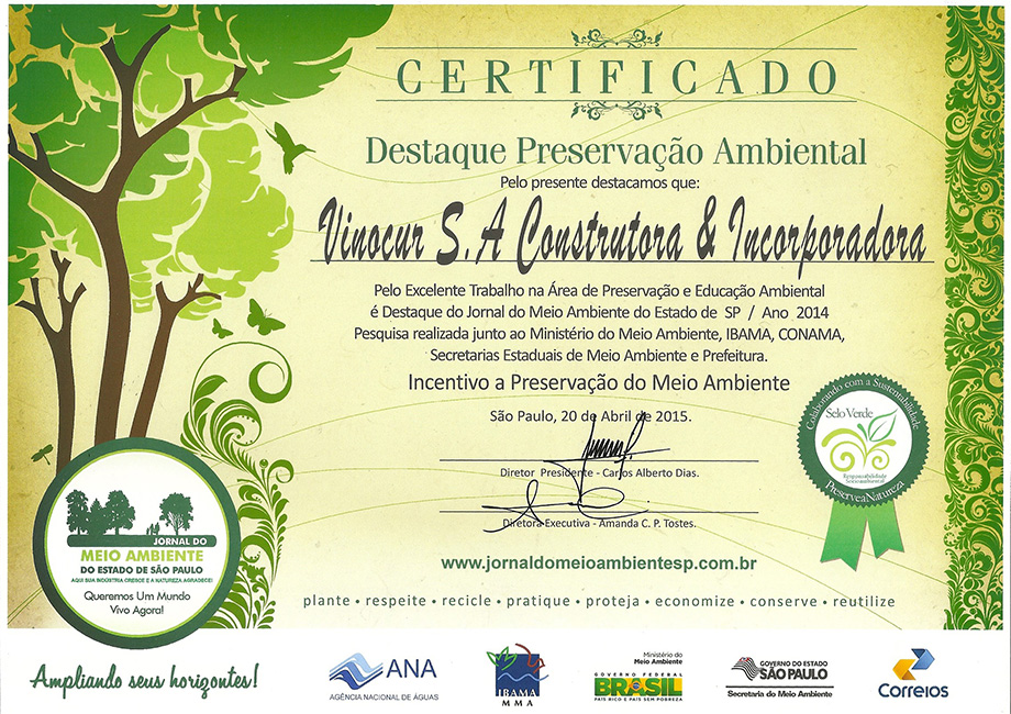 Certificado de Preservação Ambiental