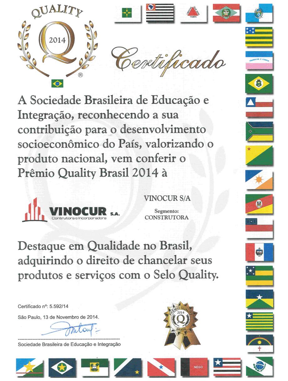 Prêmio Quality Brasil 2014 - Construtora Vinocur